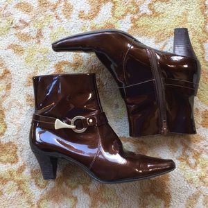 Brown Patent Leather Boots